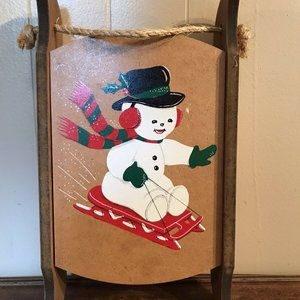 Vintage Christmas Snowman Sleigh Wooden Hanging